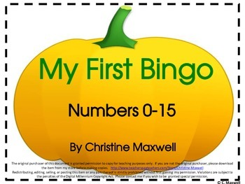 Free! My First Number Bingo Game for Fall, Halloween and Thanksgiving