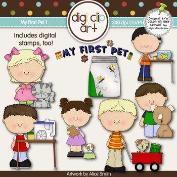 My First Pet 1-  Digi Clip Art/Digital Stamps - CU Clip Art