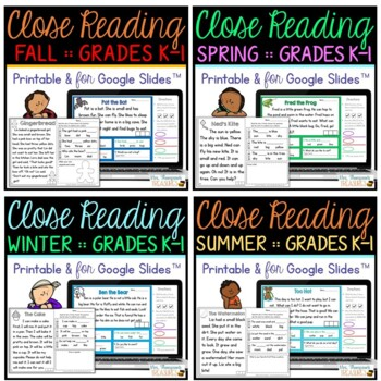 Close Reading for Emergent Readers - BUNDLE