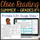 Reading Comprehension for Beginners - Summer {July, August, September}