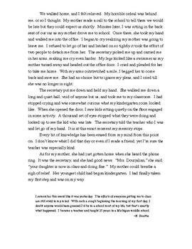 "Memoir ""My First Step"" (the struggle to accept the inevitable--kindergarten)"