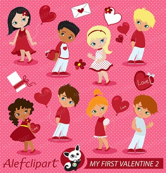 My First Valentine clipart, Valentine kids clipart, vector graphics set 2