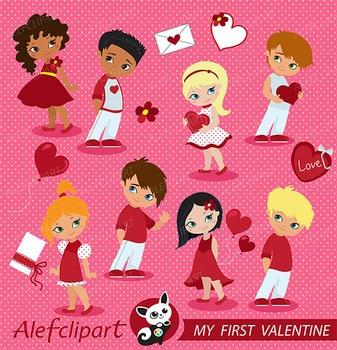 My First Valentine clipart, Valentine kids clipart,valentine vector graphics