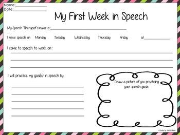 My First Week in Speech {Freebie}