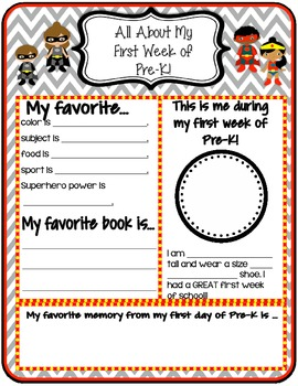 My First Week of School Superhero Sheet **All About Me**