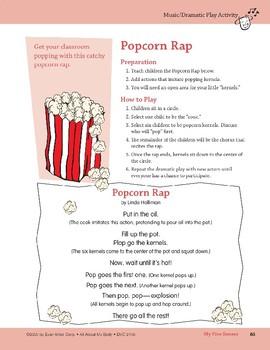 My Five Senses: Center Activity, Outdoor Activity, & Popcorn Rap