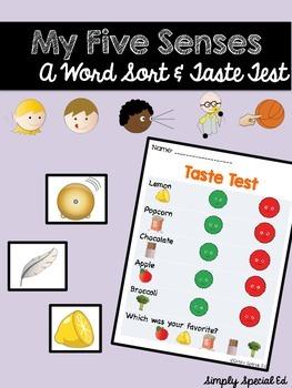 My Five Senses Word Sort and Taste Test