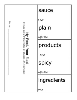My Food, Your Food Vocabulary Foldable Pearson MyView 2nd Grade