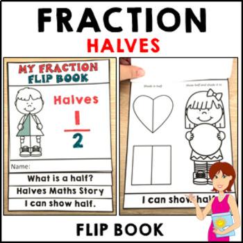 Halves Fractions Flip Book Activities