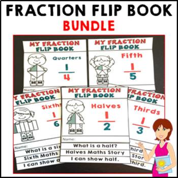 Fractions My Fraction Flip Book BUNDLE Activities Interactive Activity