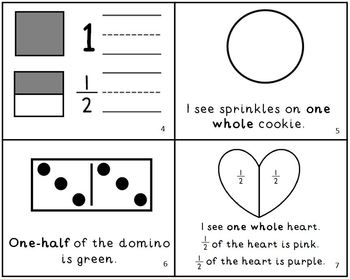 My First Fractions Book Intro to Fractions Mini-Book Whole & One Half