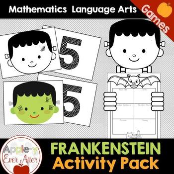 My Frankenstein - Halloween Writing Craftivity & Math Game Center Bundle