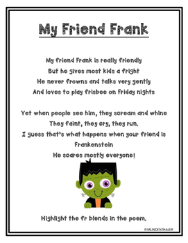 My Friend Frank FR blend poem and activities