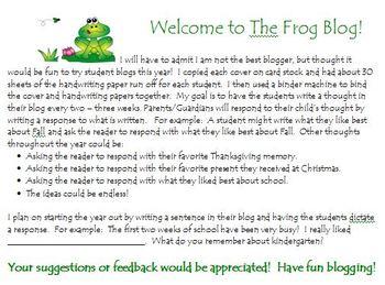 My Frog Blog - student blog