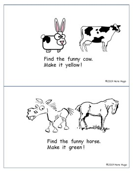My Funny Farm:  A pre-primer booklet about the farm to read and color