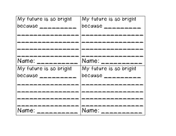 My Future is So Bright Writing And Bulletin Board Activity