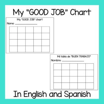 My 'GOOD JOB' Chart (In English and Spanish)