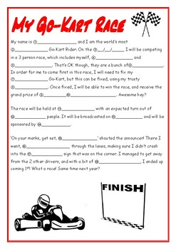 My Go-Kart Race Madlibs Worksheet