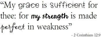 """{FREEBIE}""""My Grace is Sufficient for Thee"""" Poster.  Black and White"""