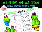 FREEBIE Editable My Grades Help Me Grow Grading Scale: Cactus