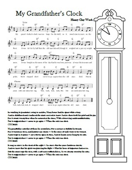 """My Grandfather's Clock"" Printable Song Sheet"