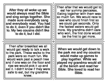 My Grandma Picture Match Story (1st Grade Sight Words) (20 Cards)