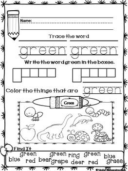 Color Books;Green;Includes worksheets;Cut/Paste Activit;Color Sort Center