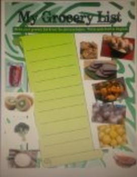 My Grocery List for ESOL, ESL, ELL (food vocabulary)