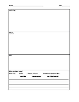 My Guided Reading Template Sheet