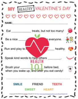 My HEALTHY Valentine's Day: Healthy Choices Worksheet- Matching!