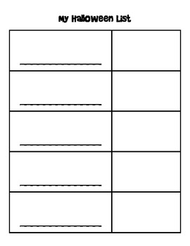 My Halloween Book - Using lists to generate ideas in Writers' Workshop
