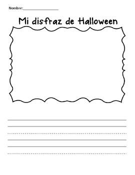 My Halloween Costume Spanish Writing Paper