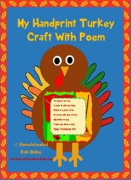 My Hand Print Turkey Craft With Poem
