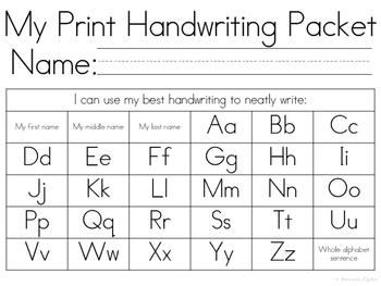 My Handwriting Packet COMBO Print and Cursive