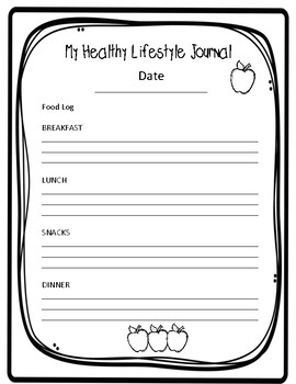 My Healthy Lifestyle Journal, Student Journal or Teacher Planner Pages