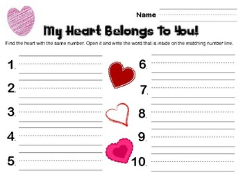 My Heart Belongs to You sight word find