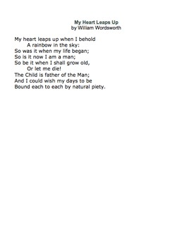 My Heart Leaps Up by William Wordsworth - Lessons, Analysi