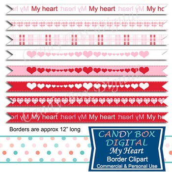 My Heart Ribbon Borders for Websites and Scrapbooks
