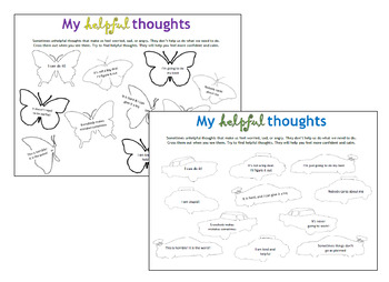 My Helpful Thoughts, CBT for children and teens, therapy, counseling activity