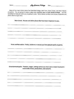 My Historic Village Brainstorming Worksheet