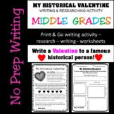 Valentine's Day History Writing Activity- My Historical Va
