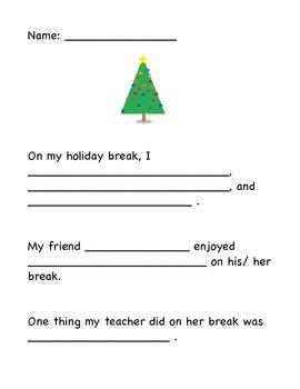 My Holiday Break Writing Activity - January