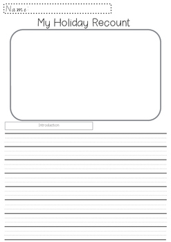 Australian My Holiday Recount dotted thirds graphic organiser vocabulary bank