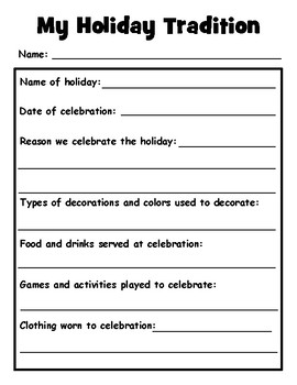 My Holiday Tradition Graphic Organizer and Presentation Poster