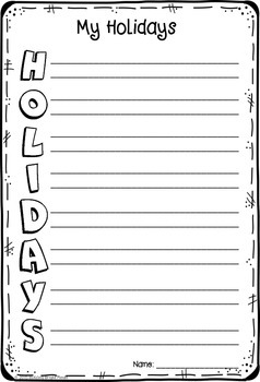 My Holidays Acrostic Poem {FREEBIE}