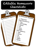 My Homework Checklist Editable