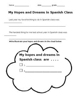 My Hopes and Dreams in Spanish Class
