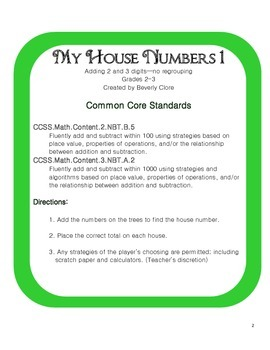 My House Numbers 1 (2 and 3 Digit Addition with No Regrouping)
