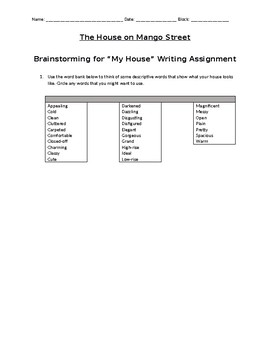 My House Writing Assignment - The House on Mango Street