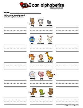 My I Can Alphabetize - Animals (Alphabetical Order Practice Sheet)
